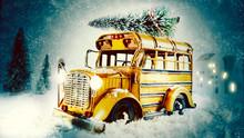 Christmas Eve Snow Scene With Yellow Bus