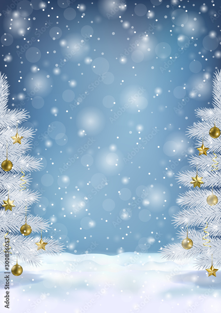 Fototapety, obrazy: Christmas and New Year Greeting Card Template