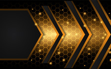 Abstract Black And Yellow Texture Metal Shapes Background. Bright Metallic Color Effect Concept. Vector Design Template For Use Wallpaper, Banner, Presentation, Frame, Corporate, Business, Advertising