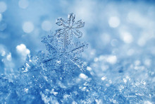 Snowflakes Close-up. Macro Photo. The Concept Of Winter, Cold, Beauty Of Nature. Copy Space.
