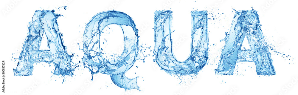 Fototapeta word aqua made of water splash letters isolated on white background