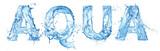 Fototapeta Łazienka - word aqua made of water splash letters isolated on white background