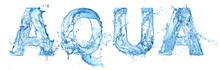 Word Aqua Made Of Water Splash...
