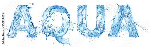 word aqua made of water splash letters isolated on white background