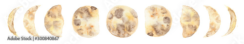 Fotografía  Watercolor moon phases isolated on white background modern space design
