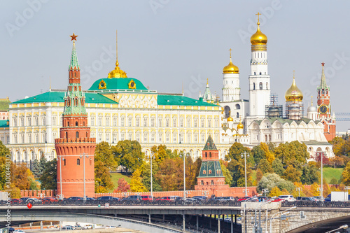 Autumn landscape of Moscow Kremlin in sunny autumn day Wallpaper Mural