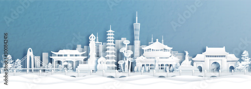 Fotografía Panorama view of Guangzhou skyline with world famous landmarks of China in paper cut style vector illustration