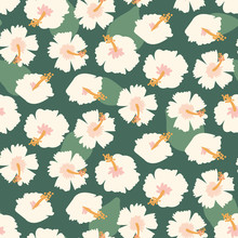A Seamless Vector Pattern With Pale Hibiscus Flowers And Leaves. Surface Print Design.