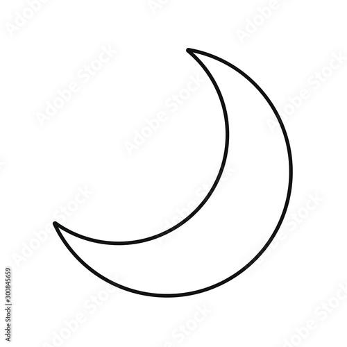 Flat style nighttime half moon outline icon Fototapet