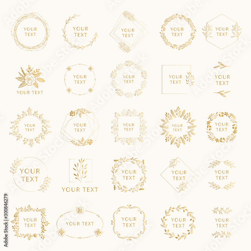 Photo  Collection of golden wedding branding with floral elements
