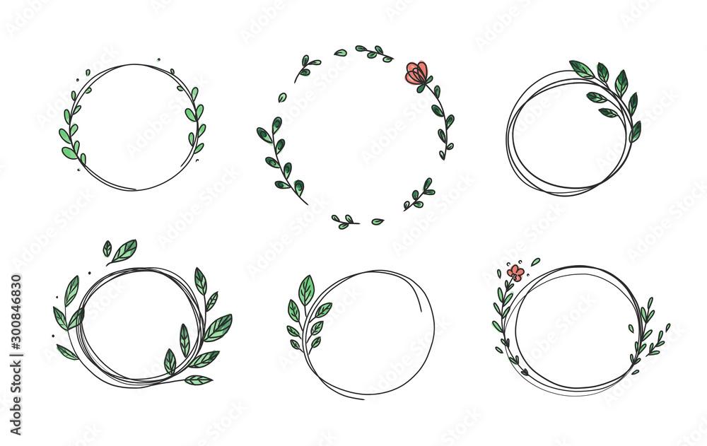 Zestaw 6 kół ładny ręcznie rysowane ramki na białym tle. Doodle ręcznie rysowane dekoracyjne zarysowane wieńce z gałęzi, liści i kwiatów. Ilustracji wektorowych. Ramki koła