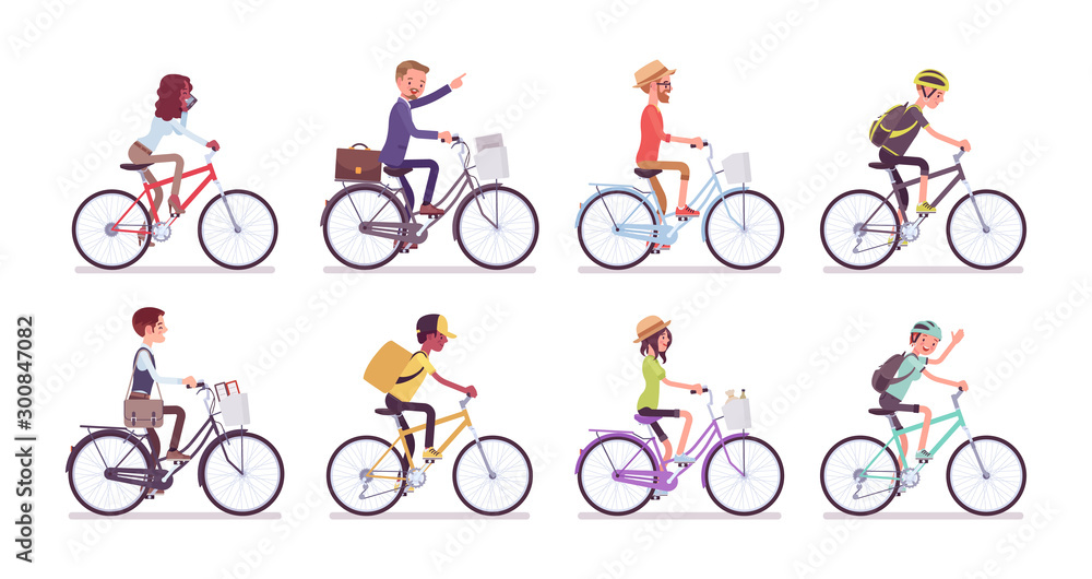 Fototapety, obrazy: Cyclists and bicycles set. Male, female happy persons riding different cycles for sport, fun, work, business or recreation, use sharing system in public places. Vector flat style cartoon illustration