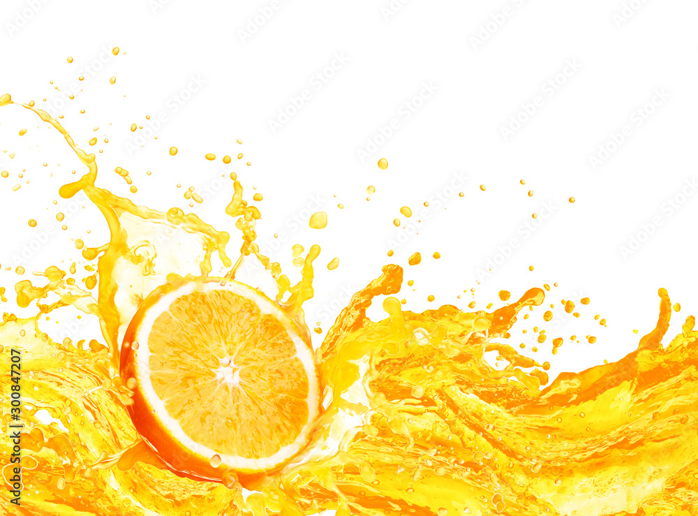 Fototapety, obrazy: Orange juice splashing with its fruits isolated on white background
