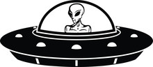 Alien In Saucer Silhouette Wit...