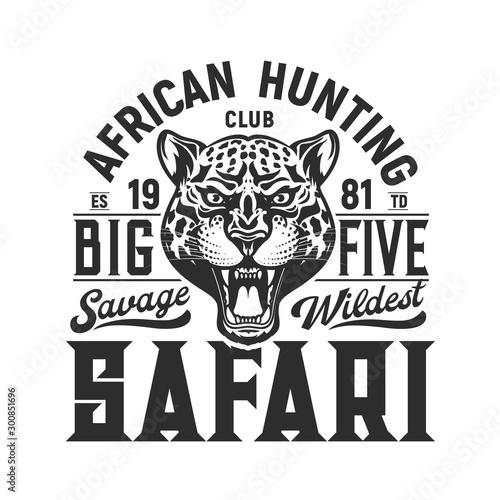 Hunting sport emblem, jaguar and big five hunt Wallpaper Mural