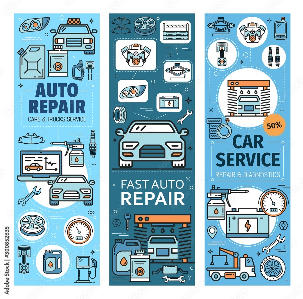 Fototapety, obrazy: Vehicles diagnostics and repair, auto spare parts