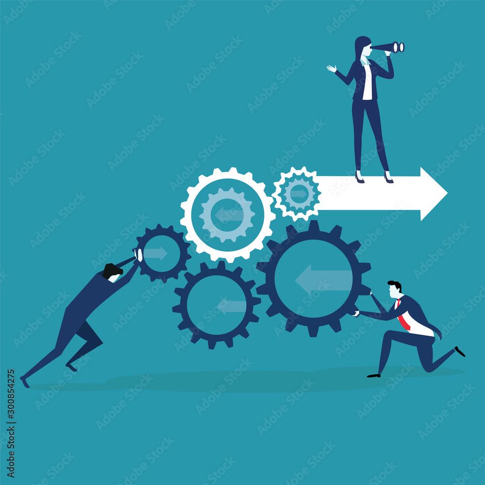 Fototapeta Challenging success table, business development and teamwork vector illustration