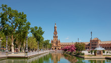 Plaza De Espana, Seville, Andalusia, Spain, View From The Basis Of The South Tower Towards The North Tower, Each Of Them Finishing The Largely Renaissance Building With A Baroque Touch
