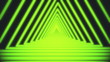canvas print picture - Bright white lines are crossing and forming neon triangle tunnel on black background. Geometric motion background of narrow neon crossed stripes. 3D rendering 4k video.