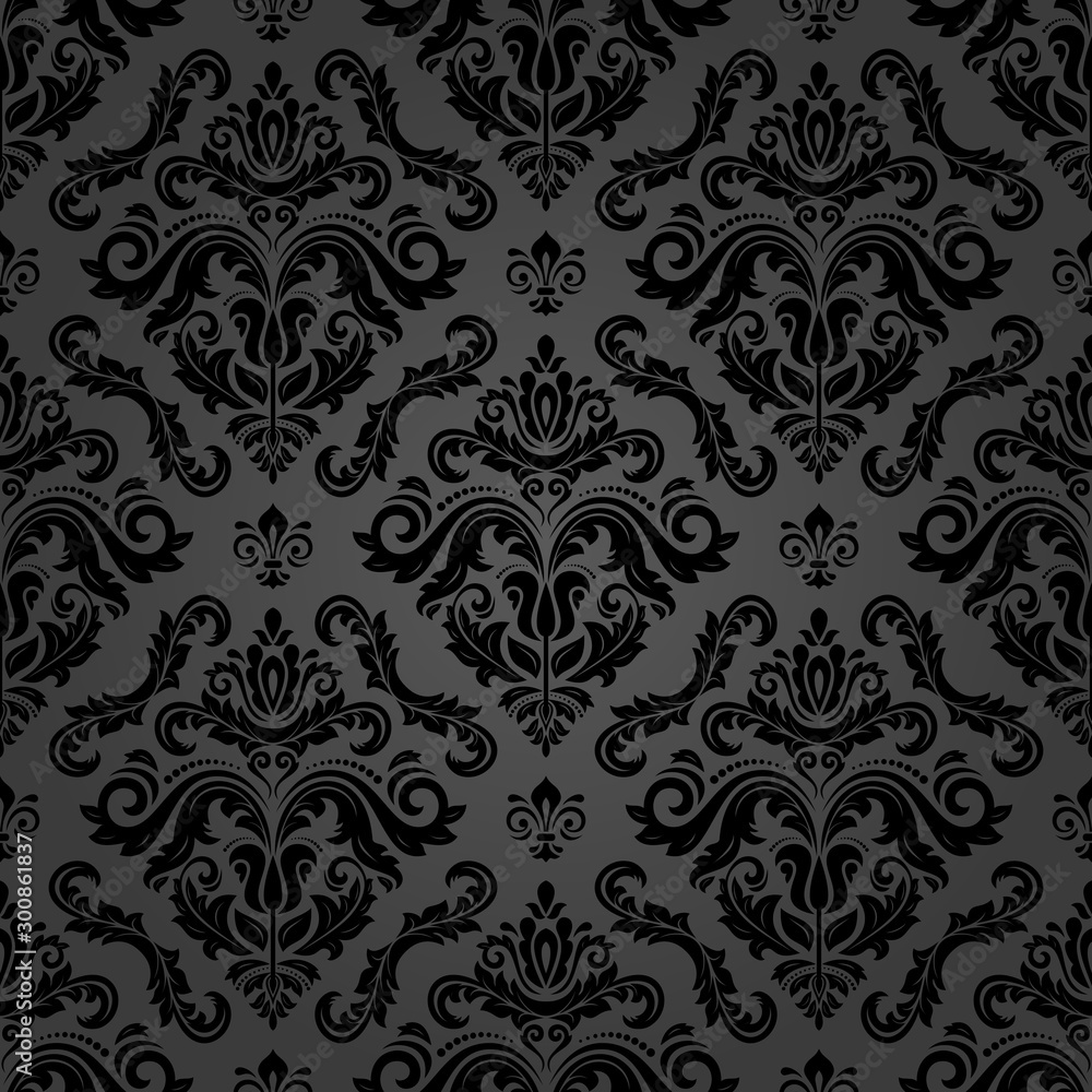 Fototapety, obrazy: Classic seamless pattern. Damask orient ornament. Classic vintage dark background. Orient ornament for fabric, wallpaper and packaging
