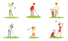 Different People Characters Playing Golf Outdoor Vector Illustration Set Isolated On White Background