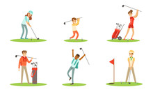 Collection Of Golf Players Characters In Different Actions Outdoor Vector Illustration Set Isolated On White Background
