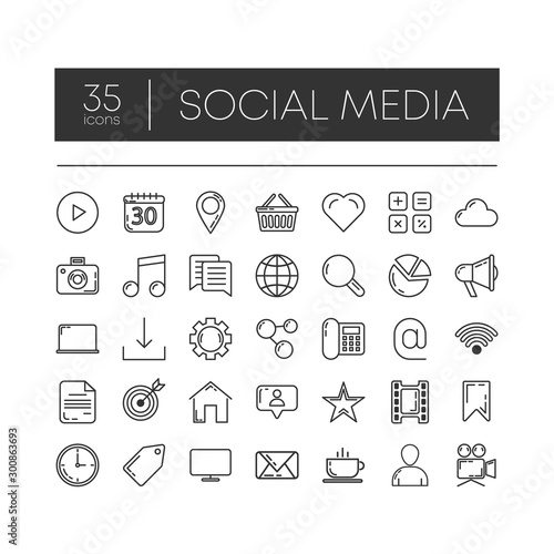 Set of 35 line icons of social media for modern concepts, web and apps on white background Canvas Print