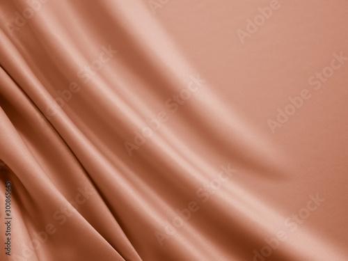 Fototapeta Beautiful smooth elegant wavy beige / light brown satin silk luxury cloth fabric texture, abstract background design. Copy space. obraz