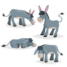 Cute Cartoon Donkeys Set. Simp...