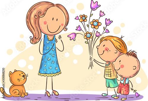 Fotografía Kids presenting flowers to their mother or teacher