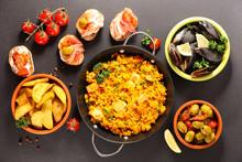 Assortment Of Spanish Food, Tapas, Mussel, Paella