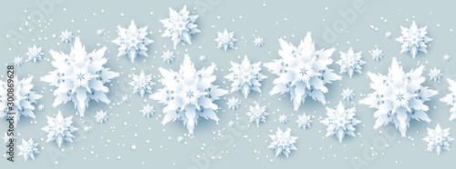 Wall mural - Realistic paper cut snowflakes banner