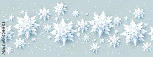 Fototapete - Realistic paper cut snowflakes banner