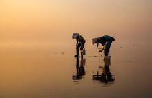 Fishermen Catch Fish At Dawn I...
