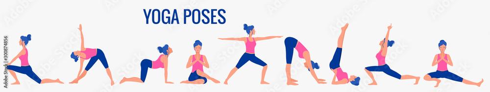 Fototapeta Various yoga poses set. Female yoga vector illustration. Healthy lifestyle.