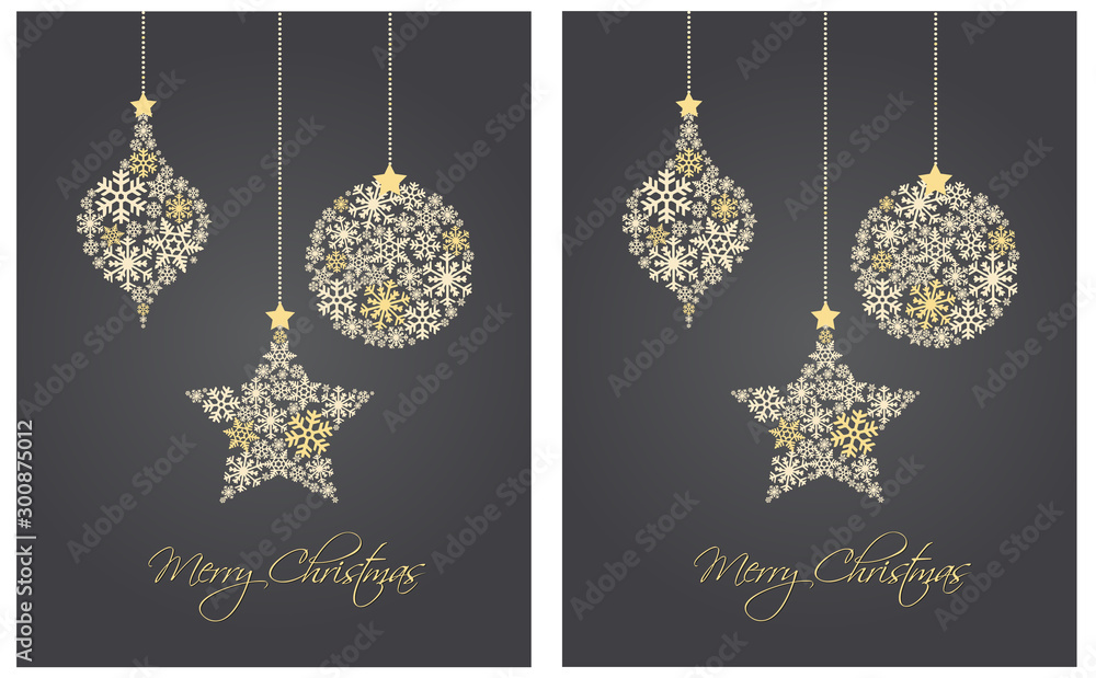 Fototapety, obrazy: Christmas ornaments made from snowflakes vector illustration