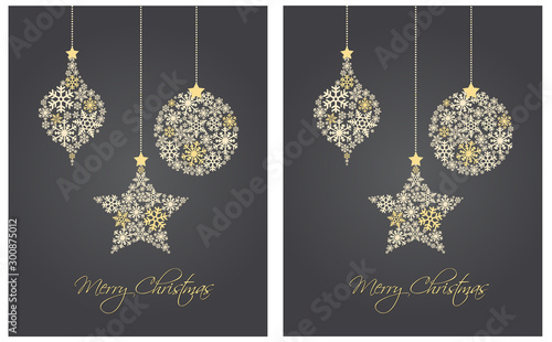 Fotomural  Christmas ornaments made from snowflakes vector illustration