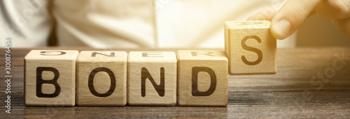 Canvastavla Businessman puts wooden blocks with the word Bonds