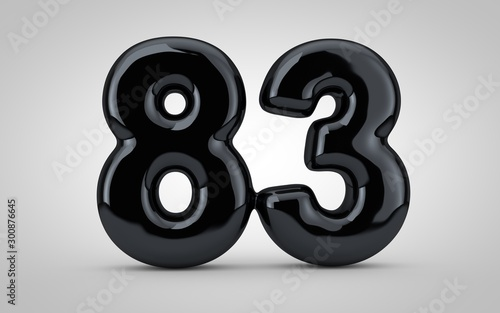 Papel de parede  Black glossy balloon number 83 isolated on white background.