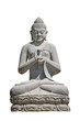 Leinwanddruck Bild - Ancient monument of praying in asana Buddha isolated at white background, closeup, details