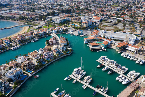 Aerial view of the new marina in Limassol