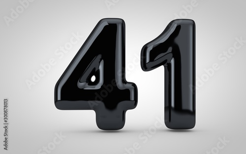 Fotografia  Black glossy balloon number 41 isolated on white background.