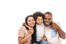 Happy African American Boy Hugging Parents And Smiling At Camera Isolated On White