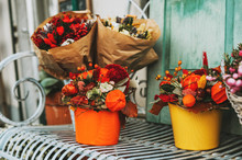 Colorful Autumn Flower Bouquets Decorated With Chestnut And Pumpkin