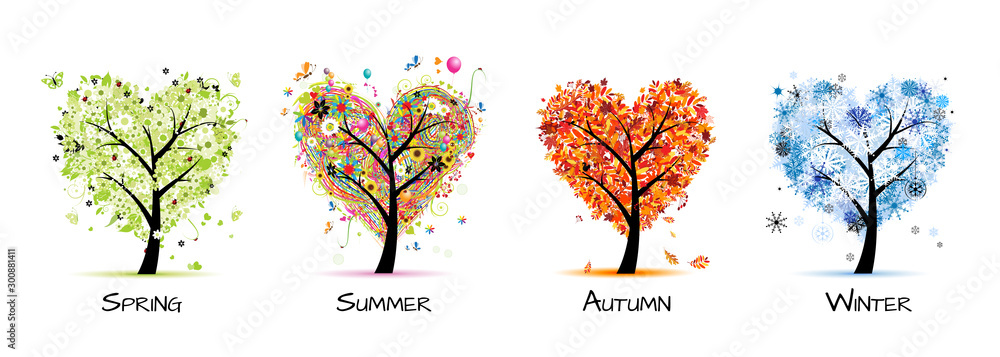 Fototapeta Four seasons - spring, summer, autumn, winter. Art tree beautiful for your design