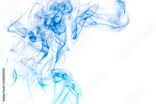Foto op Canvas Rook Blue smoke on white background