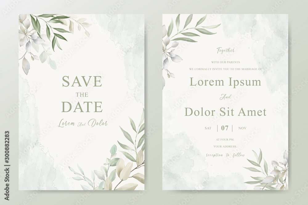 Fototapety, obrazy: Watercolor Wedding Invitation template card With Beautiful Foliage