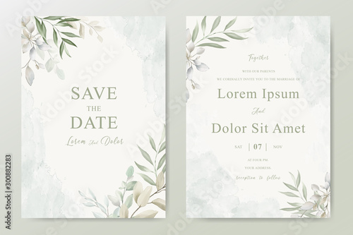 Fotografía Watercolor Wedding Invitation template card With Beautiful Foliage