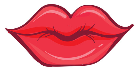 Red lips, illustration, vec...