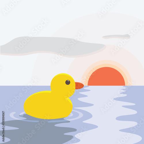 Vászonkép Duck in the sea, illustration, vector on white background.
